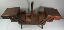 Vtg Accordian Fold Out 3 Tier Wooden Sewing Box Basket Legs Dovetail w/Supplies