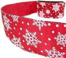 """5 Yd Christmas Shimmering Red White Snowflake Snowflakes Wired Ribbon 2 1/2""""W"""