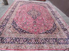 Old Traditional Hand Made Persian Rug Oriental Pink Wool Carpet Rug 370x240cm