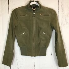 bebe Olive Green Cropped Motorcycle Bomber Jacket Size XS Stretch Corduroy