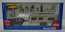 Siku Super 2542 Porsche Cayenne Turbo Towing Car with Dethleff Caravan Model