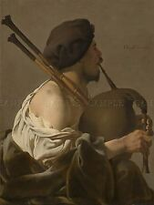HENDRICK TER BRUGGHEN DUTCH BAGPIPE PLAYER OLD ART PAINTING POSTER BB5597A