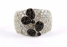 Black Butterfly Cluster Diamond Lady's Fashion Ring Band 18K White Gold 1.70Ct