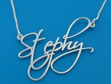 Silver Name Necklace Monogram Chain Pendant Personalised Stephy Style charm tag