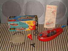 VINTAGE SCHUCO 3002 POLICE CLOCKWORK BOAT W/ BOX & ALL ACCESSORIES. WORKING!!