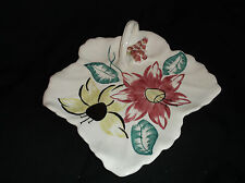 Blue Ridge Southern Pottery Handled Leaf Shape Plate Dish Tray Red Yellow Flower