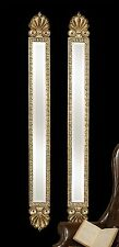 "Set 2 Narrow Baroque Wall Mirrors Aged Gold Leaf 60""H Bevelled Patina Pair Tall"