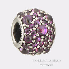Authentic Pandora Silver Shimmering Droplets Fancy Purple CZ Bead 791755CFP