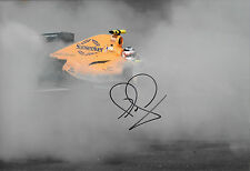 """Nigel Mansell SIGNED 12x8 Formula-Renault 3.5 """"Donuts Demo"""" Silverstone 2009"""