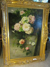 "Antique Oil on canvas  Still  Life  Roses over the stone wall 45"" x W 36"" framed"