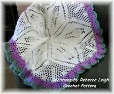 """ROUND  """"LACI""""  Baby Afghan Crochet Pattern (026)  by REBECCA LEIGH--44"""" Diameter"""