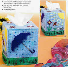 APRIL SHOWERS + 5 MINI CRITTERS + STAR TISSUE TOPPERS - PLASTIC CANVAS PATTERNS
