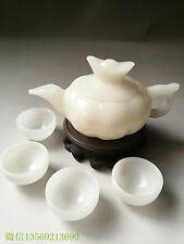 China  jade carved white jade teapot teapot four cups of tea Kung Fu