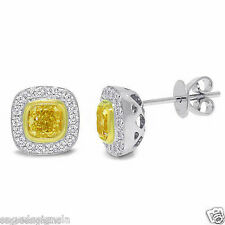 1.34CT 14K White Gold Natural Fancy Canary Yellow Cushion Diamond Stud Earrings