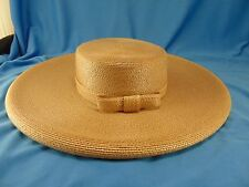 Lady's wide brim straw tan Easter hat Frank Olive Neiman Marcus NWT NOS