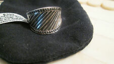 Black Diamonds, Sterling silver  & 18K Gold concave Ring  10% Discount