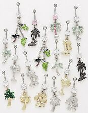 5 CZ Dangle Belly Button Rings Palm Tree Elegant 14g Wholesale Gem Fancy Navel