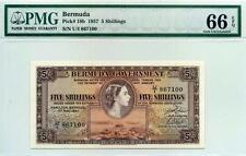 BERMUDA, QE2, P-18b,5 Shillings, 1.5.1957 ,GEM UNC.PMG66-EPQ,