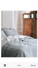 Simply Shabby Chic Twin Duvet comforter Cover Set vintage Aqua Blue Linen Ruffle