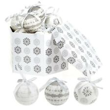 Christmas Tree Decoration - Box of 14 Baubles - 75mm - Snowflake & Lace