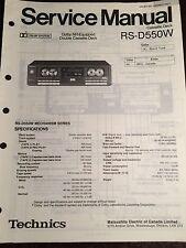 Original Technics Model RS-D550W Stereo Double Cassette Deck Service Manual