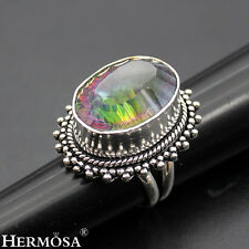 Rainbow Fire Oval Mystical Topaz Classic Hot 925 Sterling Silver Ring Sz.7 MK475