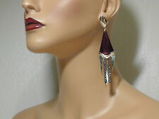 Alexis Bittar Bordeaux Lucite & Mother-Of-Pearl Chandelier Clip-On Earrings.$325