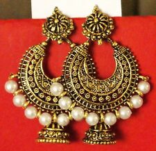 Ethnic Bollywood Jewelry Gold Oxidized Bridal Indian Pearl Earring Jhumka Jhumki