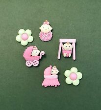 Dress it Up New Baby Girl Buttons - Baby Shower Embellishment - Pink Girl Crafts