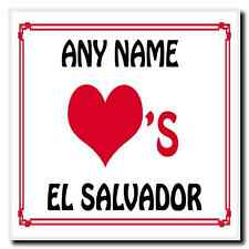 Love Heart El Salvador Personalised Coaster