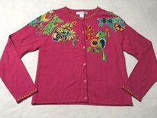 Arriviste S Pink Beaded Art Gem Cat Dog Parrot Applique Sweater Cardigan