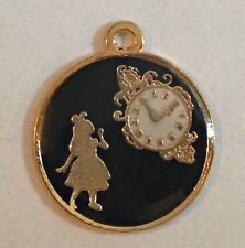 4 x ALICE IN WONDERLAND ENAMEL CHARMS - Black and Gold Plated Back Girl Clock