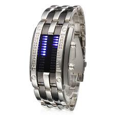 Uomo Digit Orologio LED blu fascia d'acciaio della vigilanza di sport