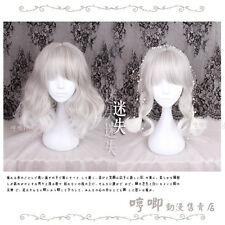 Japanese Harajuku Gothic Lolita Gray+White Gradient curly Cosplay Princess Wig