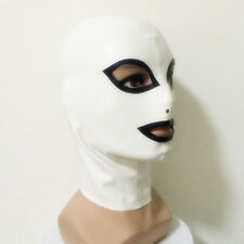 Sexy White Latex Rubber Hood Teddies Mask With Black Trim For Catsuit Club Wear