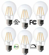 6 Pack Bioluz LED Dimmable Filament A19 4.5w Soft White 2700K Edison Light Bulbs