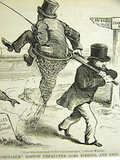 Political Cartoon 1875 BOSTON DEFAULTER GOES FISHING Gets CAUGHT Print Matted