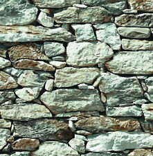 Wallpaper Faux Smooth Rock and Stone Wall Gray White Rust Black, Looks Real Up!