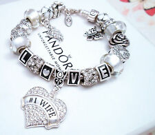 Authentic Pandora Silver Charm Bracelet with Love Story European charms White