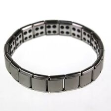 Titanium Power Nano Energy Magnetic Germanium Silver Tone Bracelet Pain Relief