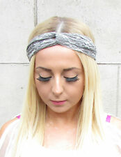 Gris dentelle turban bandeau twist knot vintage cheveux bande élastique boho 988