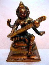 Brass Saraswati Statue Hindu Goddess of Knowledge, Music & Art Sculpture