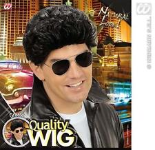 Mens Black Danny Zuko Wig Grease T Birds Teddy Boy Fancy Dress
