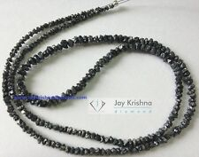 "20.06 ct natural black rough loose diamond beads 16"" strand .silver clasp JK678"