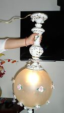 Vintage Capodimonte Porcelain Hanging lamp light  Fixture Marked inside