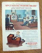 1954 Sylvania TV Ad Chairside Theatre Television Radio Phonograph Combination