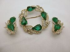 Kramer Brooch Pin Earring Set Vintage Green Givre Stone