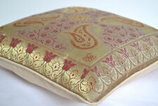 """INDIAN 16"""" Scatter Cushion Covers Antique Ethnic Banarasi Silk Cream Gold Leaves"""