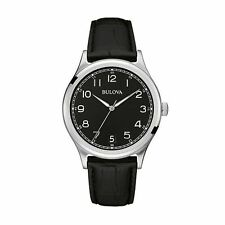 Bulova Men's Classic Vintage Quartz Watch Analogue Display Leather Strap 96B233
