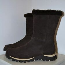 Skechers Outdoor Womens size 7 chocolate brown suede BOOTS fur trim WORN ONCE